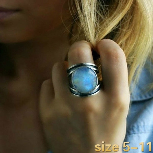 Exquisite design 925 Sterling Silver Fashion Jewelry Retro Party Moonstone Ring Size 5-11