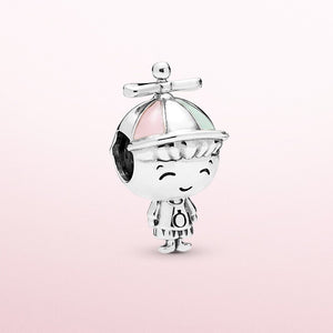NEW DIY Fashion 925 sterling Silver Dazzling boy pendant panda European and American CZ Charm Crystal Big Hole Spacer Beads Pendant Fit Necklace Bracelet DIY Jewelry Making Hot