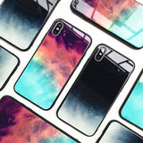 Case For IPhone XS Max XR X 8 Case Slim Back Tempered Glass Starry Sky For IPhone 8 7 Plus 6 6s 8Plus Cases Cover
