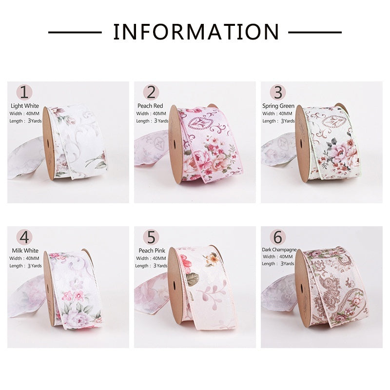 LaRibbons Gift Wrapping Ribbons Roll Floral Sewing Fabric Ribbon Handmade DIY Supplies - 40mm/1.5Inch X 3 Yards