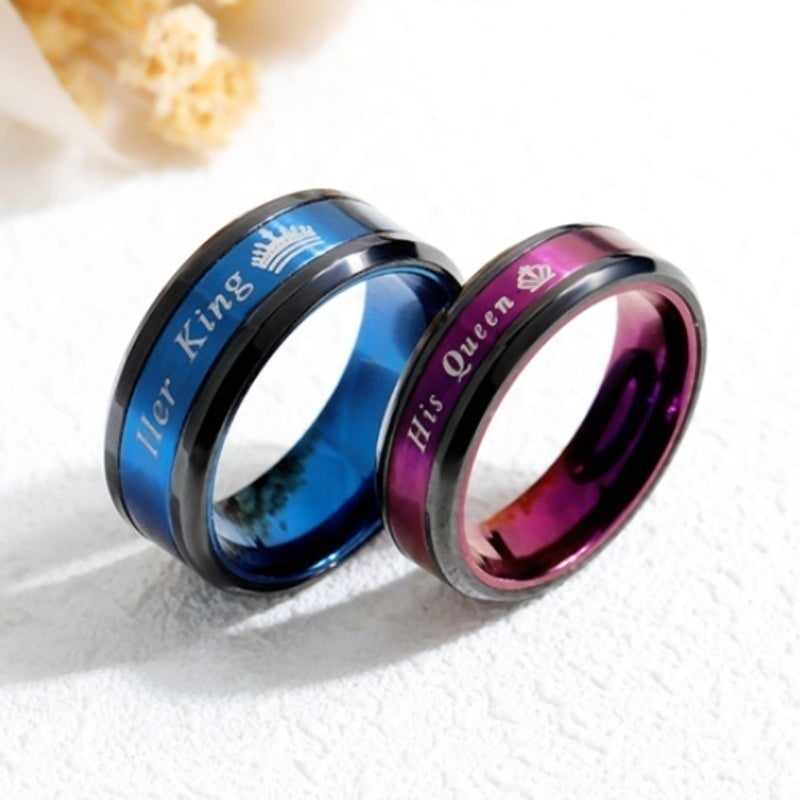 Fashion couple creative accessories her King his Queen couple ring Europe and America titanium steel romantic ring