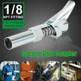 1/8 NPT Grease Gun Coupler Zerk 10000psi Grease Coupler Fitting Tip Easy Lock-on