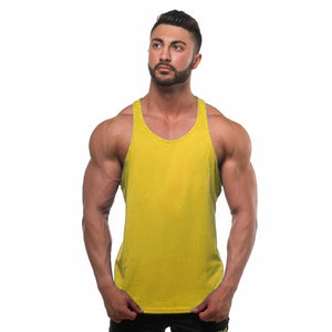Men Gym Tank Tops Summer Fashion Cotton Soild Color Fitness Bodybuilding Muscle Vest Sleeveless T Shirt