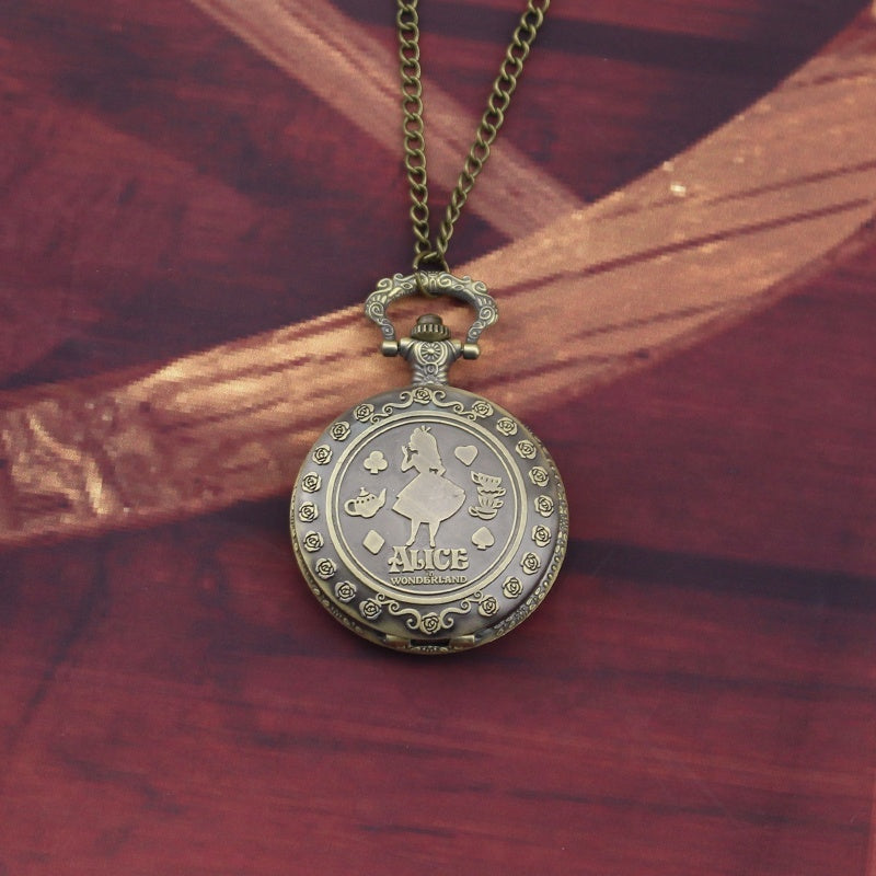 Fairy Tale Film Alice In Wonderland Lady's Pocket Watch Cartoon Alice and Rabbit's Flipped Necklace Pocket Watch
