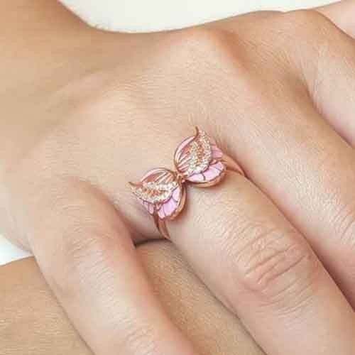 Adorable Women's Girls' 18K Solid Rose Gold Butterfly Ring Pink Enamel Wings Diamond Jewelry Dreaming Birthday Anniversary Gift Engagement Banquet Party Wedding Band Rings Size 5 6 7 8 9 10 11