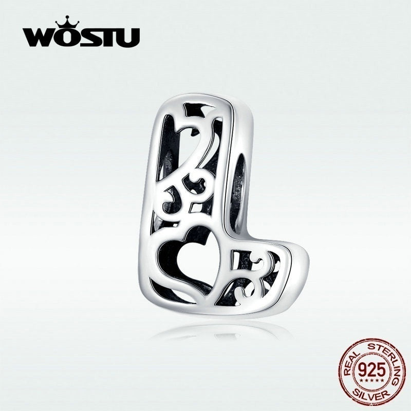 WOSTU Hot Sale 925 Sterling Silver 26 Letter Alphabet A To Z Beads Charms Fit Charm Bracelets Bangles Jewelry Accessories