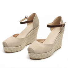 Load image into Gallery viewer, Summer Women Platform Wedge Sandals Casual Closed Toe Espadrilles Sandals High Heels Buckled Strap Fisherman Shoes Sand¨¢lias Das Mulheres Plus Size