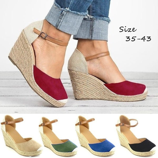 Summer Women Platform Wedge Sandals Casual Closed Toe Espadrilles Sandals High Heels Buckled Strap Fisherman Shoes Sand¨¢lias Das Mulheres Plus Size