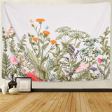 Colorful Floral Plants Tapestry Wall Hanging Vintage Herbs Tapestry Wild Flowers Tapestry Nature Scenery Tapestry for Living Room Bedroom