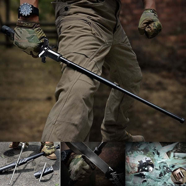 Escape Tool Outdoors Prevent Knife Chopping Hand Guard Stick Self-defense Telescopic Pole Alloy Steel Three- Stage Telescopic Pole Glass Crushing Walking Hiking Safety