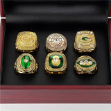 New 6 packs Super Bowl Championship Ring Set with Wood Box Case