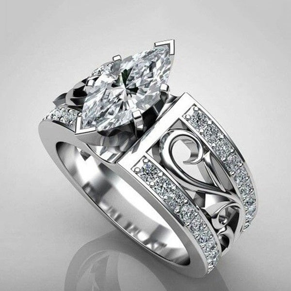 Luxury Dazzling Unique Horse Eye Cut White Sapphire Wedding Ring 925 Silver Diamond Jewelry Anniversary Proposal Gift Party Bridal Engagement Wedding Band Rings For Bride Women