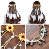 Fashion Boho Feather Headband for Woman Festival Hair Accessories Peacock Feather Turban Ladies Adjust Hairband