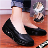 New Women Leather Shake Shoes Fashion Casual Air Cushion Nurse Shoes Lightweight Slip-on Fitness Shoes