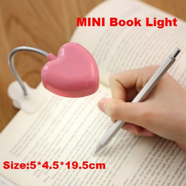 Mini Love Heart Clip LED Book Light Lamps Reading Book Desk Lamp Keyboard Light Eyes-Protect Energy Save Night Lights