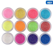 Load image into Gallery viewer, 12 Colors Mix Set Glitter Phototherapy Diy Nail Art Laser Powder Super Fine And Easy To Use Manicure Design Dipping Shinning Chrome Pigment Dust Kit