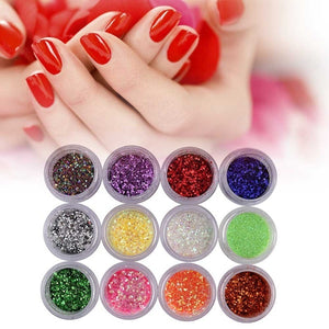 12 Colors Mix Set Glitter Phototherapy Diy Nail Art Laser Powder Super Fine And Easy To Use Manicure Design Dipping Shinning Chrome Pigment Dust Kit