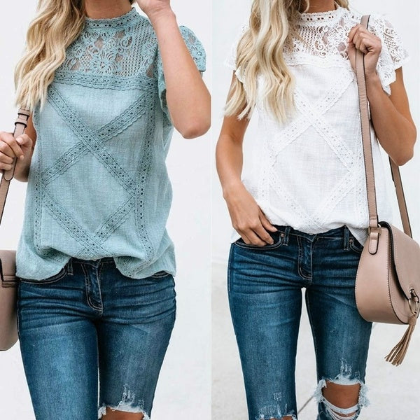 Womens Shirts Casual Summer Lace Shirt Short Sleeve Hollow Out Blouse T-shirt Tops Pure Color Shirts