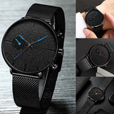 Simple Mens Quartz Watch Fashion Classic Black Mesh Belt Slim Watch Men Business Stainless Steel Casual Watch Men's Gift relogio