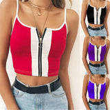 1 Pcs Hot Women Vest Crop Top Ladies Casual Zip Up Tank Blouse ,Summer Sleeveless Shirt