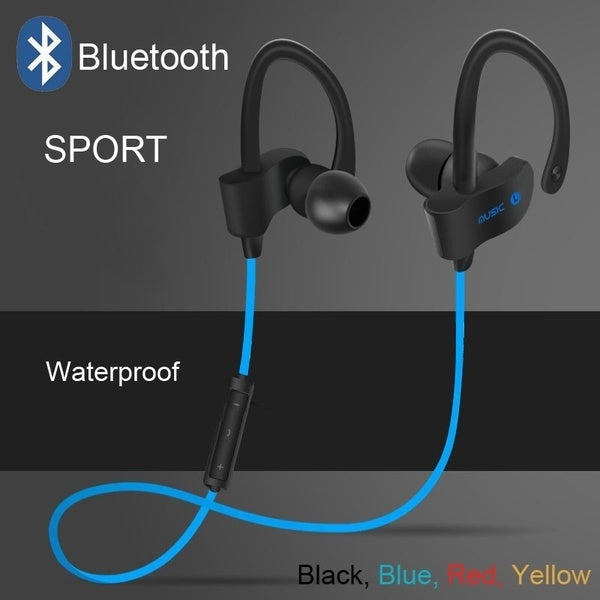 Wireless Bluetooth Headphone Sports Bluetooth Headset Music Stereo Earbuds Earphones with Mic In-ear for iPhone/Samsung Smartphones (Color: Black, Blue, Red, Yellow