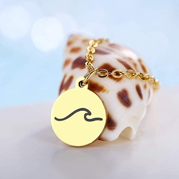 Fashion Gold Stainless Steel Wave Necklace - Cute Disc Chain Necklace Pendant - Hypoallergenic,Waterproof,Color Retention,Simple Beach Holiday Necklaces for Women Jewelry Accessories