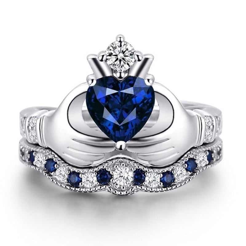 Men'S Tungsten Steel Carbide Inlaid Shells Blue Opa Ring Women'S 925 Sterling Silver Blue Sapphire Bridal Engagement Wedding Heart Claddagh Ring