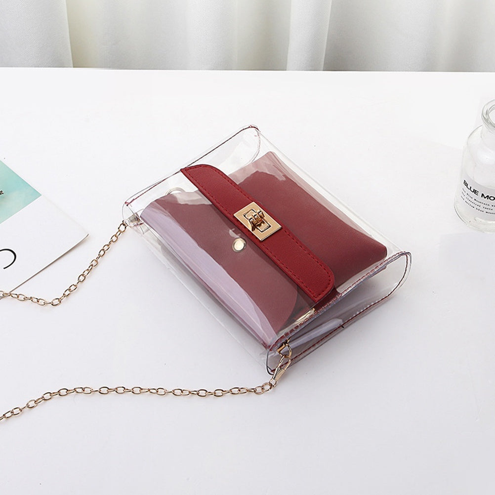 Women PVC Clear Satchel Bag Fashion Transparent Shoulder Crossbody Bags Ladies Messenger Casual Small Handbags