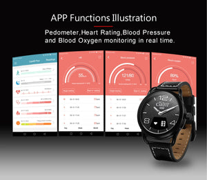 Ainuevo A1 Business Smart Watch 0.49 Inch OLED Sapphire Air Touch 3ATM Waterproof Heart Rate Monitor Blood Blood Oxygen Pressure
