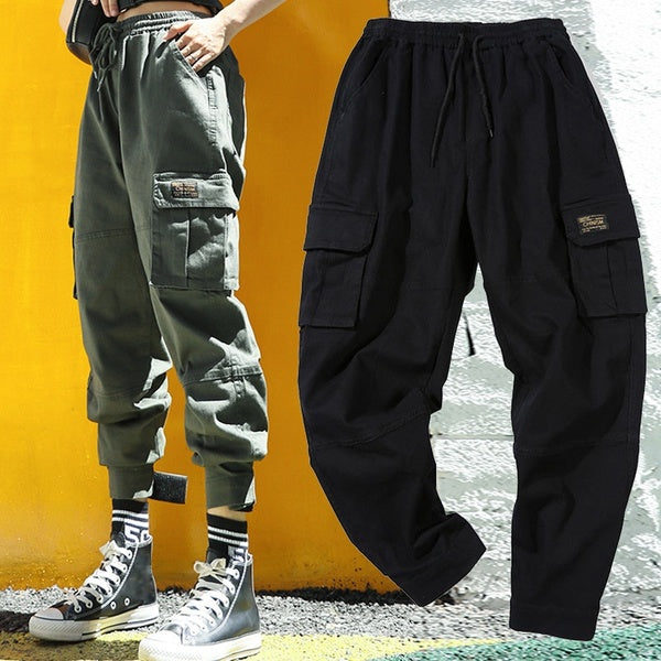 Women Hip Hop Pants Lady's more pockets Cargo Pants Slouchy Trousers with Velcro Harem Pants Wide Leg  Pants Personality