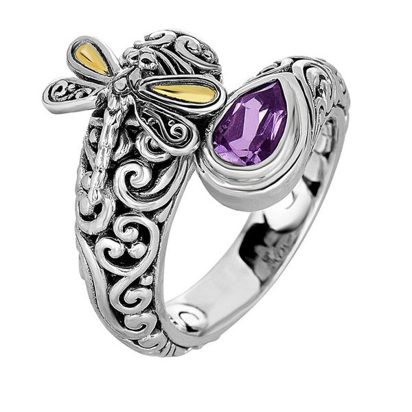 Vintage Women's Jewelry 925 Silver Dragonfly Amethyst Ring Antique Anniversary Gift Retro Proposal Engagement Rings Bridal Wedding Band