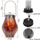 Isyunen Solar Lantern Lights Outdoor 2 Pack Dancing Flame Waterproof Hanging Lights Retro Solar Path Light Solar Powered Decoration Lighting for Garden Patio Yard (Warm White)