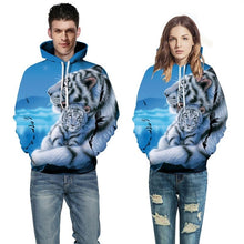 Load image into Gallery viewer, Unisex 3D Tiger Printed Hoodies Big Pockets Hooded Tops Sweatshirt for Men/Women