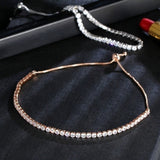 Brand new luxury shiny cubic zircon diamond adjustable charm bracelet ladies birth stone  gift  Fine Bracelets for Women