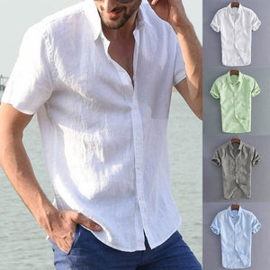 Plus Size Mens Summer Cotton Breathable Solid Color Buttons T-Shirts Casual Slim Short Sleeve Shirt Tops