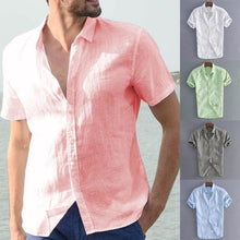 Load image into Gallery viewer, Plus Size Mens Summer Cotton Breathable Solid Color Buttons T-Shirts Casual Slim Short Sleeve Shirt Tops
