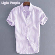 Load image into Gallery viewer, Mens Summer Beach Holiday Cotton Breathable Solid Color Button Down T-Shirts Casual Short Sleeve Shirt Tops M-5XL