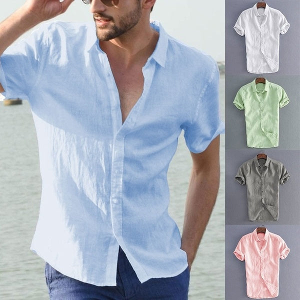 Mens Summer Beach Holiday Cotton Breathable Solid Color Button Down T-Shirts Casual Short Sleeve Shirt Tops M-5XL