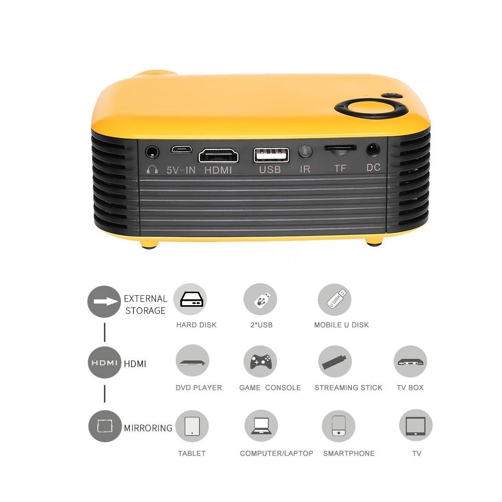 2019 Mini Portable Projector 1080P LCD 50,000 Hours Lamp Life Home Theater Video Projector Lightweight And Support Power Bank for TV Box/XBOX/TF Card/U Disk (Orange) EU Plug
