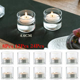 6+2/10+2/20+4Pcs Shot-Glass Shaped Clear Glass Votive Candle Holder Suitable for Small Votive Candles/LED Lights/Tealights