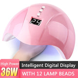 36W LED UV Nail Polish Dryer Lamp Gel Acrylic Curing Light Spa Professional
