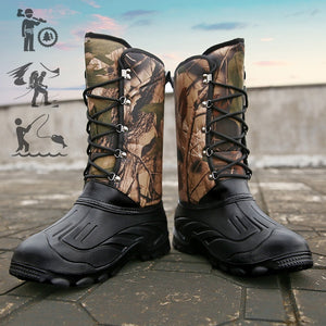New Men Plus Velvet Outdoor Fishing Boots Winter Hunting Hiking Trekking Boots for Male Waterproof Wear Resistant Boots
