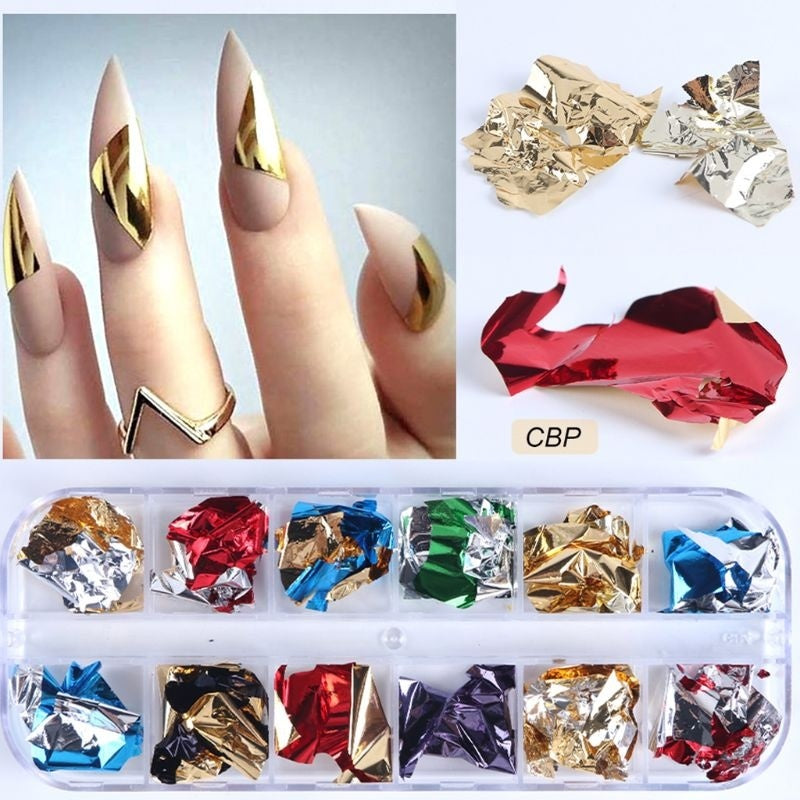 12 Girds/Set Nail Art Color Glitter Paper Sheet Flake Irregular Rainbow Foil Paillette Chip DIY Decoration Sticker Manicure Tool
