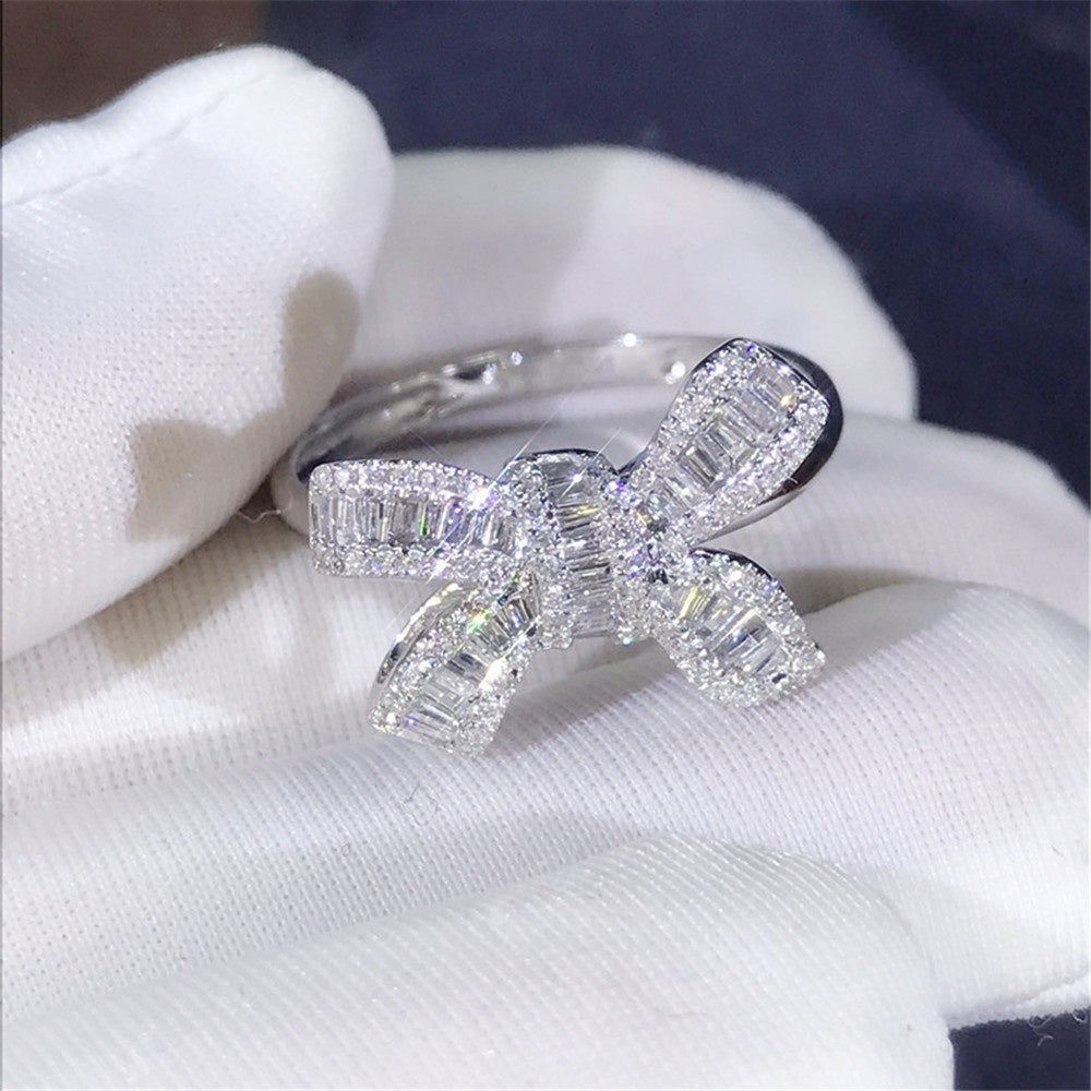 Luxury Women Silver Bow Ring Natural Gemstone Rhinestone White Sapphire Ring (size:5-11)