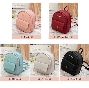 New Women's Fashion Causal Backpack Travel Handbag PU Leather Mini School Bags Daypack Crossbody Bag