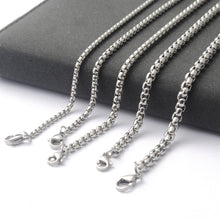 Load image into Gallery viewer, New Men Women Stainless Steel Box Chain Steel Square Pearl Necklace Pendant Necklace (Width 2.5/3/3/4/4.5mm)