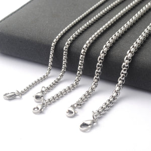 New Men Women Stainless Steel Box Chain Steel Square Pearl Necklace Pendant Necklace (Width 2.5/3/3/4/4.5mm)