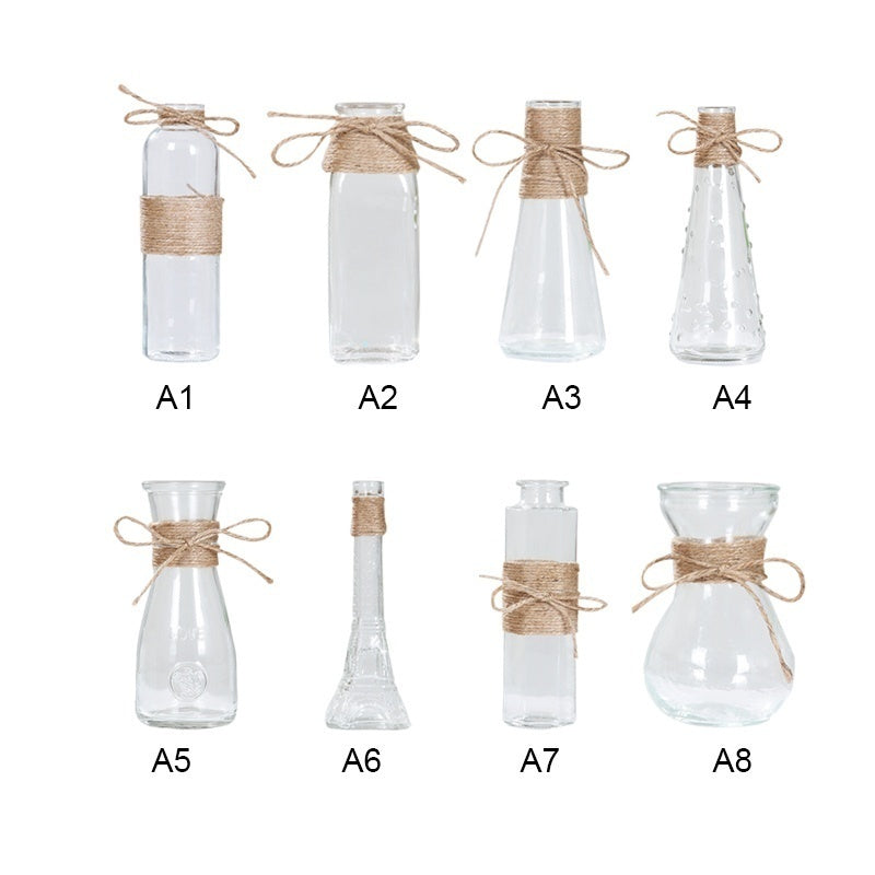Glass Vases Transparent Water Hydroponics Flower Rope Dry Flower Vase Living Room Table Decoration