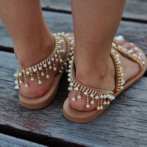 Womens Fashion Summer Vintage BOHO Beach Sandals Leather Beading Flat Sandals Bohimia Beach Sandals Shoes Plus Size