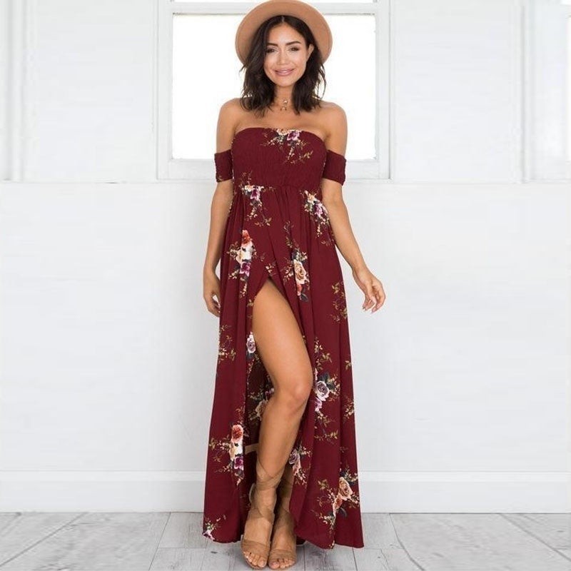 New Arrival Fashion Elegance Womens Party Wrap Chest Off Shoulder Loose Beach Printed Dress Slim Sexy Maxi Dress 5 Colors